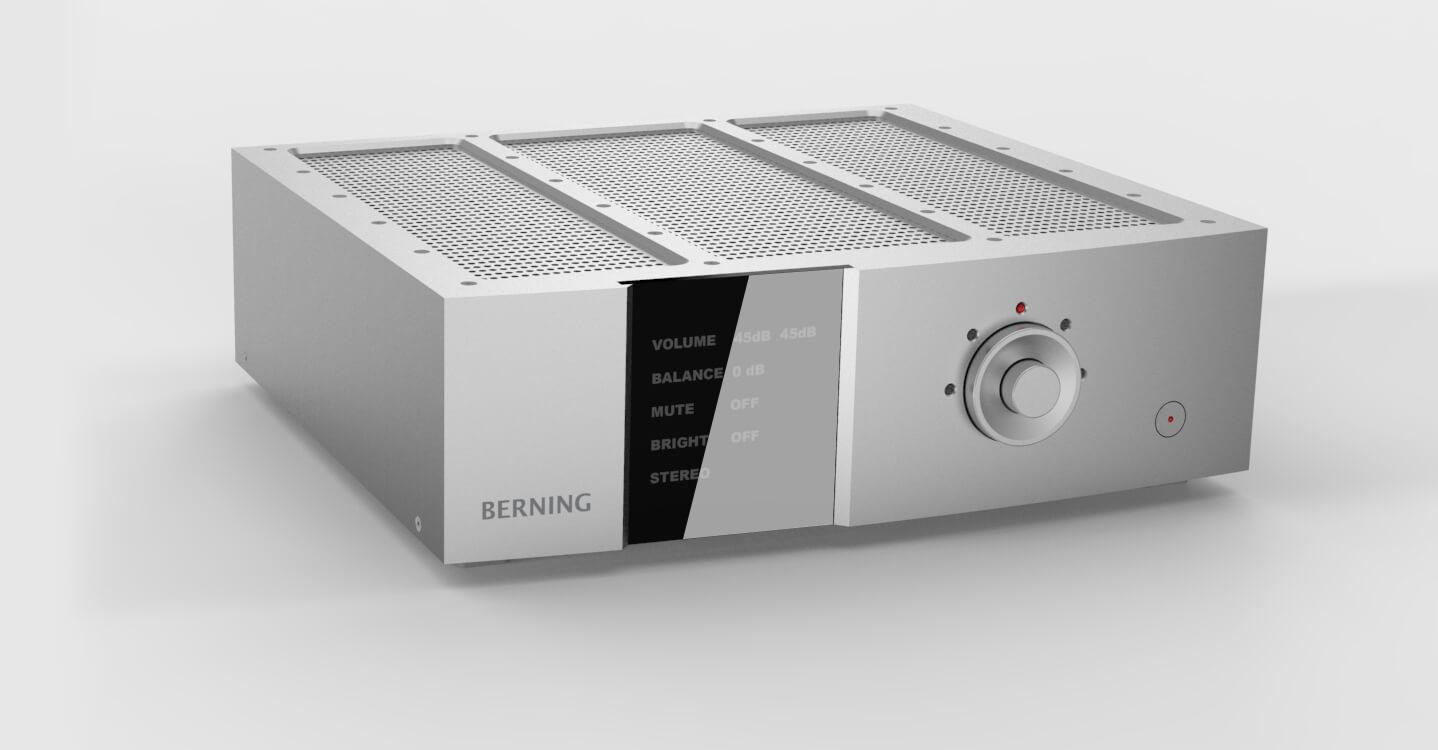 Vue 3/4 d'un pré-amplificateur Berning.