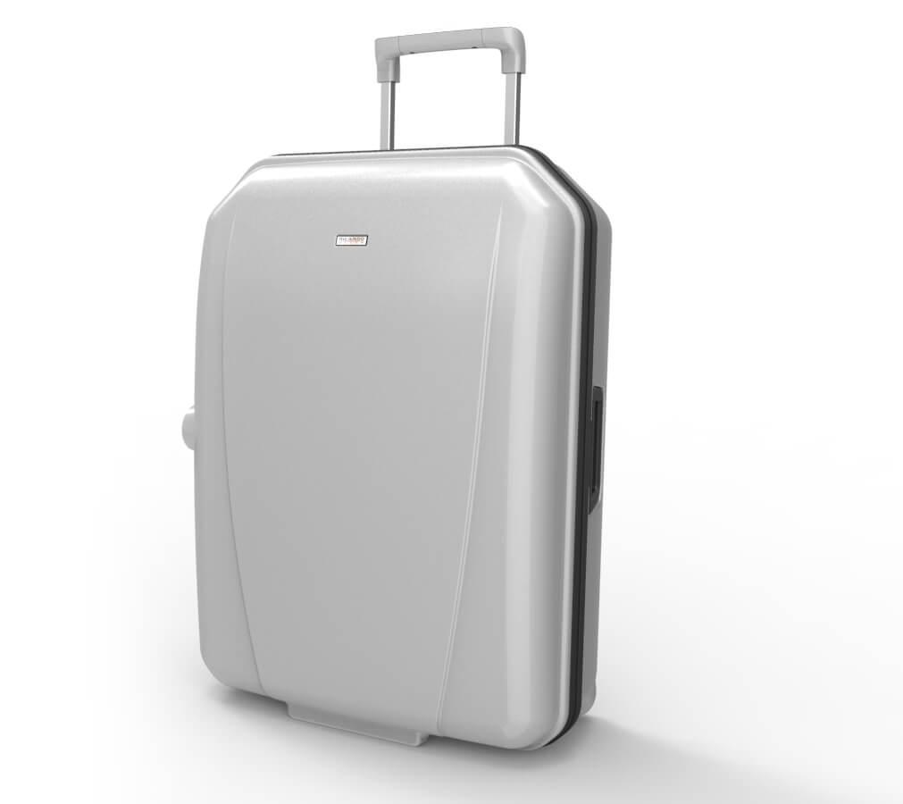 Une vue 3/4 de la valise.