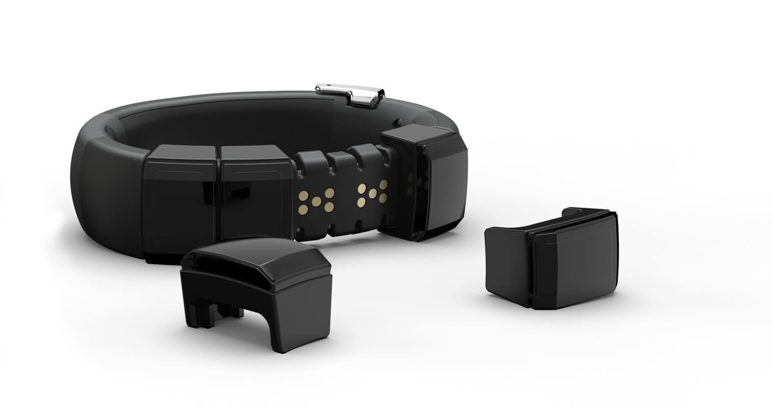 Vue 3/4 du bracelet NEX avec 2 modules détachés.