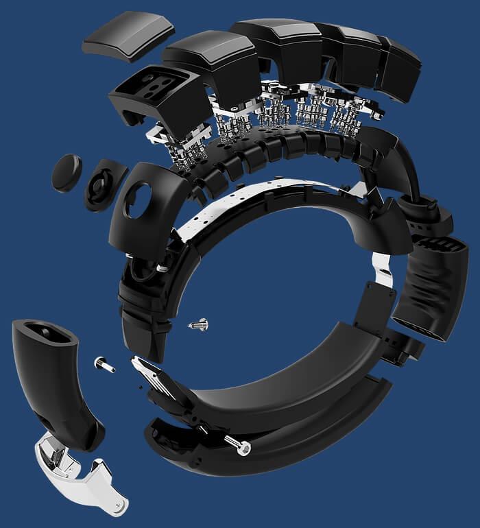 Vue explosée des composantes du bracelet NEX.