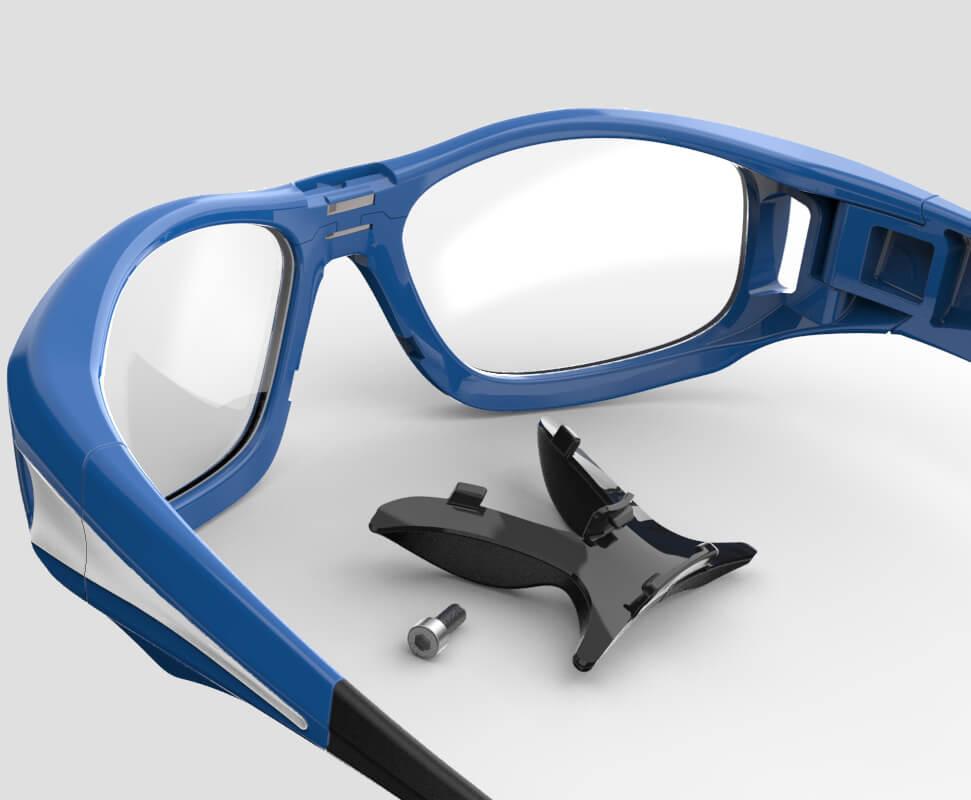 Anglais - Vue arrière de la lunette de protection Leader avec pièce de nez détachée.