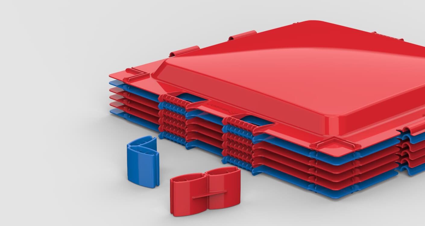 Des panneaux rouge et bleu Brik_A_Blok empilés.